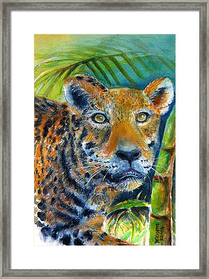 Framed Print featuring the painting Jaquar On The Prowl by Bernadette Krupa
