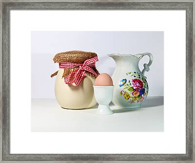 Jar And Egg Framed Print by Cecil Fuselier