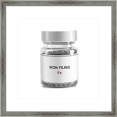 Jar Containing Iron Filings Framed Print by Science Photo Library