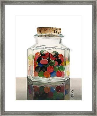 Framed Print featuring the painting Jar Of Jelly Bellies by Ferrel Cordle