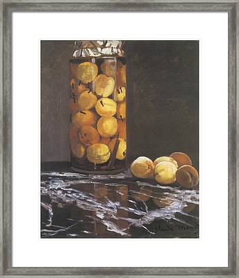 Jar Of Peaches Framed Print by Claude Monet