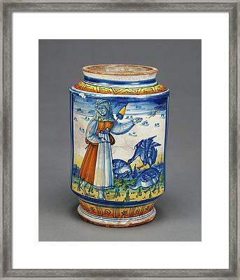 Jar With A Woman And Geese Unknown Faenza Framed Print