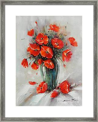 Jar With Poppies Framed Print by Petrica Sincu