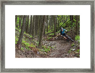 Jared Lynch Mountain Biking The North Framed Print by Chuck Haney