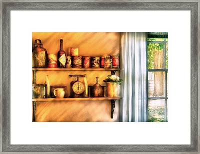 Jars - Kitchen Shelves Framed Print by Mike Savad