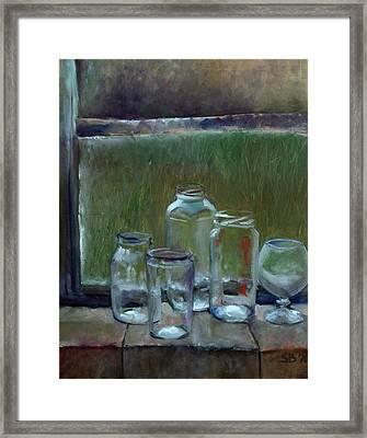 Jars On Summer Windowsil Framed Print