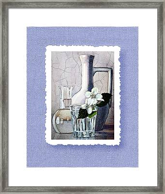 Jasmine Flowers Bouquet On Blue Canvas Framed Print