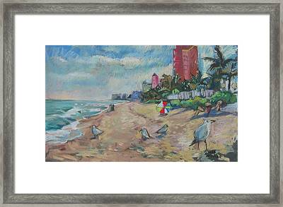 Framed Print featuring the painting Jaunty Beach Birds by Linda Novick