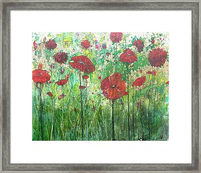 Framed Print featuring the painting Java Poppy Field by Christy  Freeman