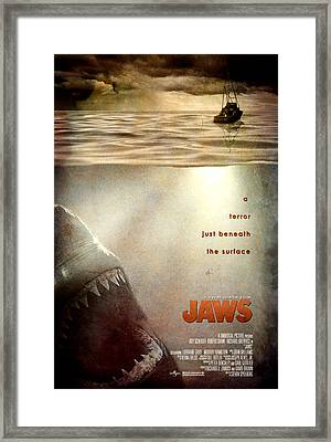 Jaws Custom Poster Framed Print by Jeff Bell