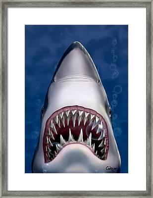 Jaws Great White Shark Art Framed Print