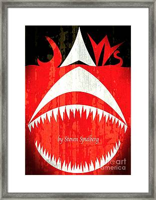 Jaws Minimalist Poster  Framed Print by Stefano Senise