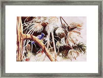 Framed Print featuring the painting Jay At Donner Lake by John  Svenson