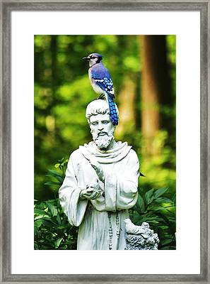 Jay On Statue Framed Print