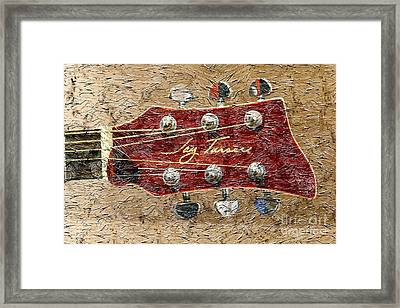 Jay Turser Guitar Head - Red Guitar - Digital Painting Framed Print by Barbara Griffin