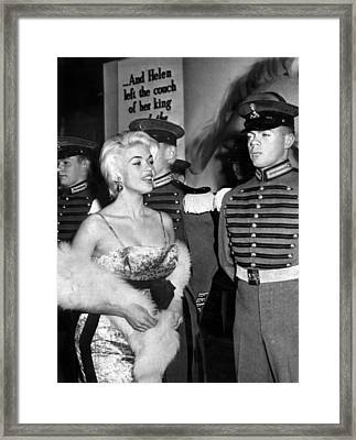 Jayne Mansfield In Front Of Guards Framed Print