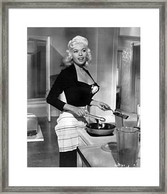 Jayne Mansfield Showing Off Cooking Skill Framed Print