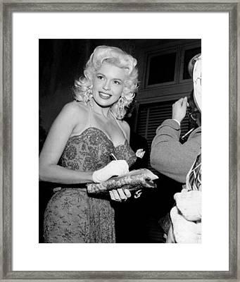 Jayne Mansfield Signs Autograph Framed Print