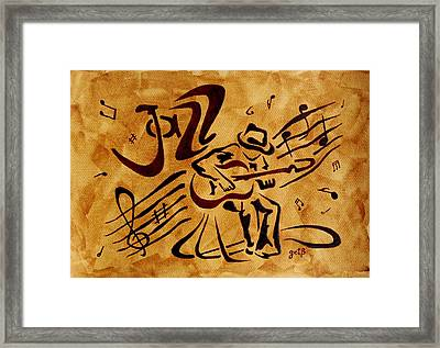 Framed Print featuring the painting Jazz Abstract Coffee Painting by Georgeta  Blanaru