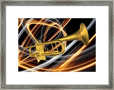 Jazz Art Trumpet Framed Print by Louis Ferreira
