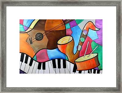 Jazz Band Inspired By Eric Waugh Framed Print