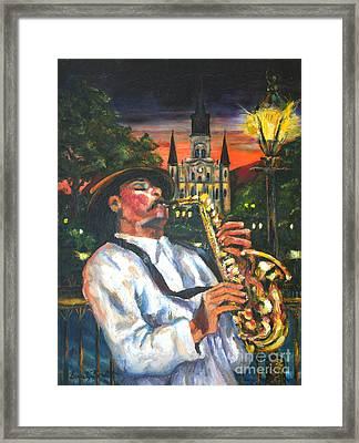 Jazz By Street Lamp Framed Print