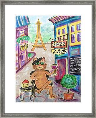 Jazz Cat Framed Print by Diane Pape