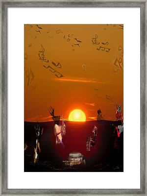 Framed Print featuring the digital art Jazz Fest by Cathy Anderson