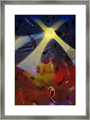 Framed Print featuring the digital art Jazz Fest II by Cathy Anderson