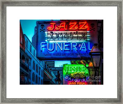 Jazz Funeral And Jester On Bourbon St. Framed Print