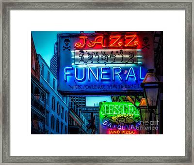 Jazz Funeral And Jester On Bourbon St. Framed Print by Kathleen K Parker