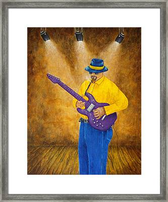 Jazz Guitar Man Framed Print by Pamela Allegretto