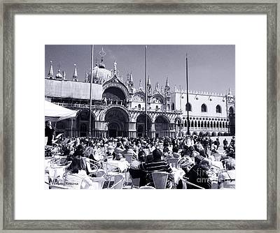 Jazz In Piazza San Marco Black And White  Framed Print