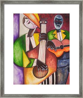Framed Print featuring the painting Jazz Men by Emery Franklin