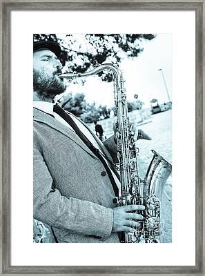 Jazz Musician Busker Playing Saxophone Framed Print