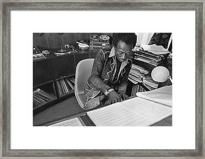 Jazz Musician Miles Davis Composing Framed Print