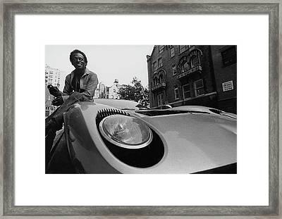 Jazz Musician Miles Davis Sitting On The Hood Framed Print