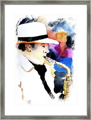 Jazz Player Framed Print by Steven Ponsford