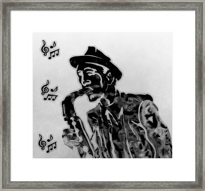 Jazz Saxophone Man Framed Print by Dan Sproul