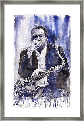 Jazz Saxophonist John Coltrane Blue Framed Print