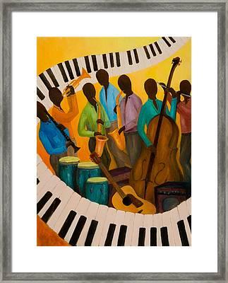 Jazz Septet Framed Print by Larry Martin