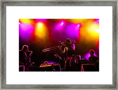 Jazz Trio - A Jam Session In Purple And Yellow Framed Print by Georgia Mizuleva