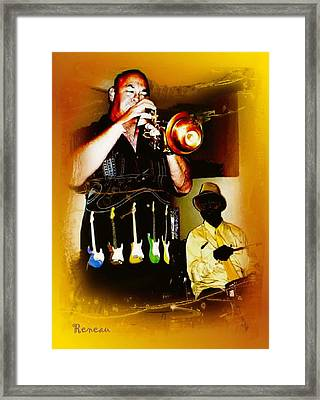 Jazz Trumpet And Drums Framed Print by Sadie Reneau