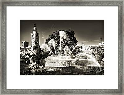Jc Nichols Memorial Fountain Bw 1 Framed Print