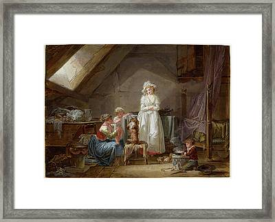 Jean-baptiste Mallet, Young French Marquise In Exile Framed Print by Litz Collection