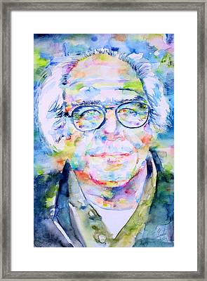 Jean Baudrillard - Watercolor Portrait Framed Print