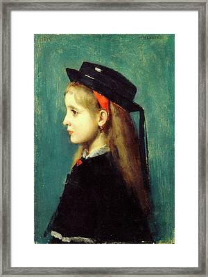 Jean-jacques Henner, Alsatian Girl, French Framed Print