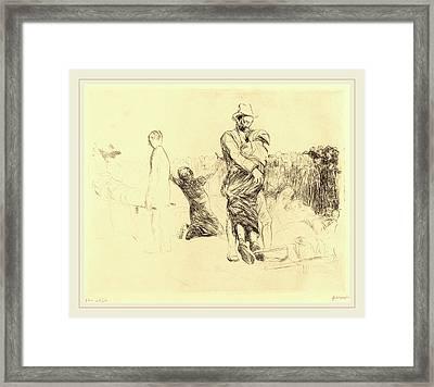 Jean-louis Forain, Lourdes, Transport Of The Paralyzed Framed Print
