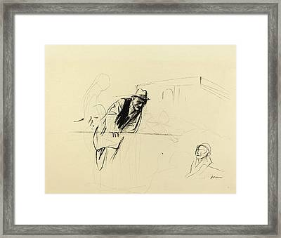 Jean-louis Forain, Negotiations At The Trianon Palace Framed Print by Quint Lox