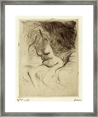 Jean-louis Forain, Woman Taking Off Her Chemise Framed Print by Quint Lox
